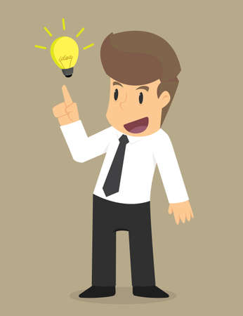 had: Businessman had an Idea, idea light bulb. vector