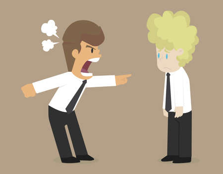yell: businessman angry co workers, yell friends no teamwork. vector Illustration