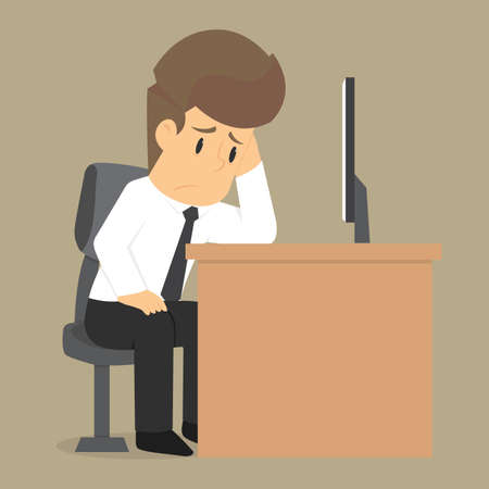business management: businessman worry about work. vector
