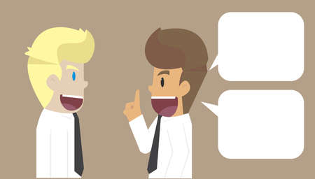 proponents: businessman talk presented ideas with colleagues. vector Illustration