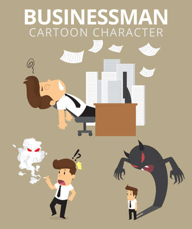 Set,Businessman Character. vector Ilustração Vetorial