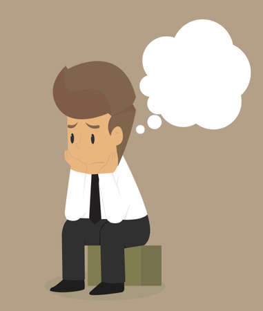 disheartened: Businessman sitting dismal, no morale. vector