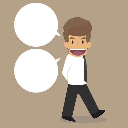 briefing: Businessman walking and talking. vector Illustration