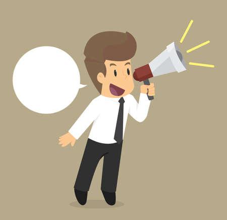 Business man speaking through megaphone. vector Illustration