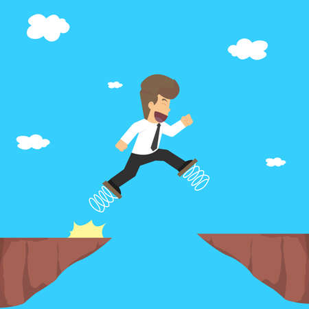 business risk: business man using spring on the feet, jump over the gorge, the risk. vector