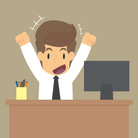 businessman is happy with the work. vector
