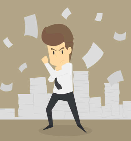 Businessman who are committed to work. vector 向量圖像