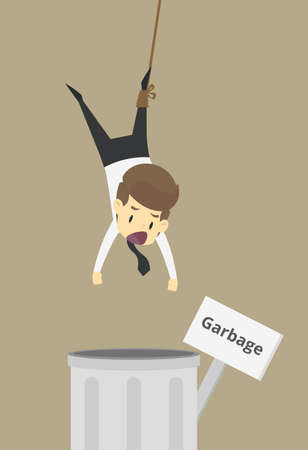 Businessman was thrown into the trash, unemployed. vector