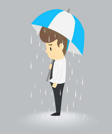 Unlucky businessman being wet from raining instead he holding umbrella, misfortune or in trouble concept. vector Illustration