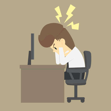 disconsolate: Businessman thinking things dont work out, no idea. vector