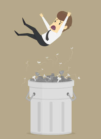 ineffective: businessman was thrown into the trash, unemployed. vector