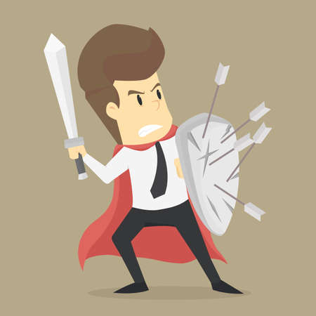 A businessman fighting with the problem. vector