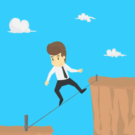 A businessman risk climbing ropes across the abyss. vector