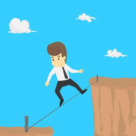 Um risco empresário subir cordas através do abismo. vetor
