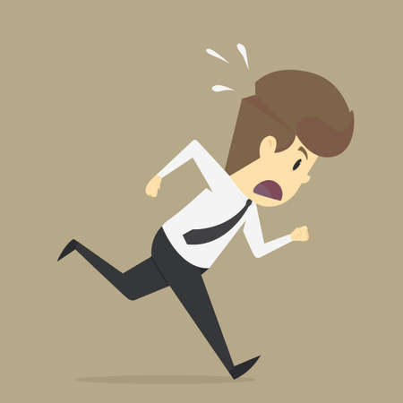 runing: A businessman ran in a hurry. vector