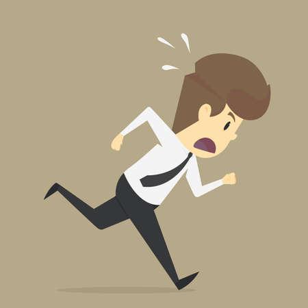 Un homme d'affaires courut à la hâte. vecteur