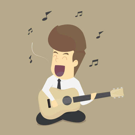 A business man relax by playing the guitar, singing. vector