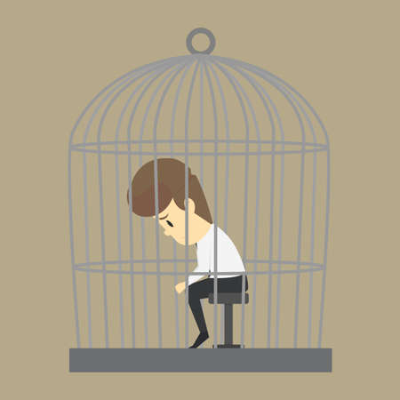 A Business man trapped in a cage, without freedom. vector