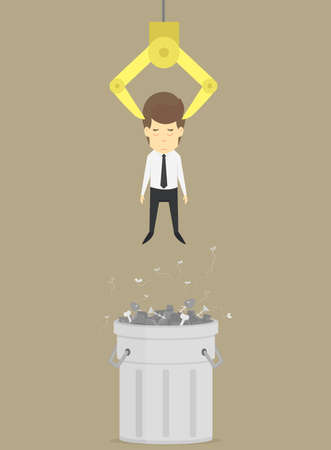 ineffective: A businessman was thrown into the trash, unemployed. vector