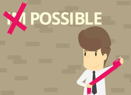 skill: A Businessman Made Possible. vector Illustration