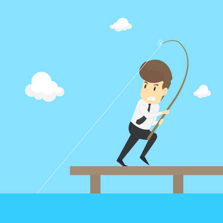 A Businessman Fishing. vector