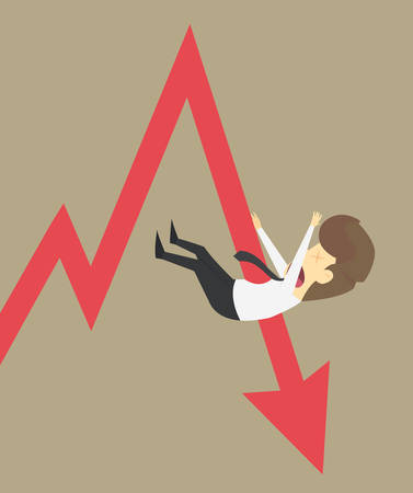 stabbed: A businesses being stabbed arrows, arrow graph down. vector Illustration