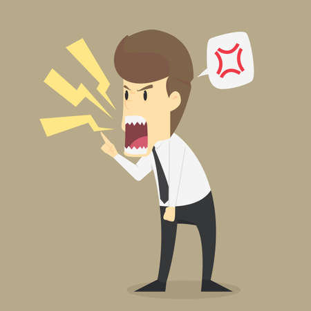 businessman shouting angrily. vector