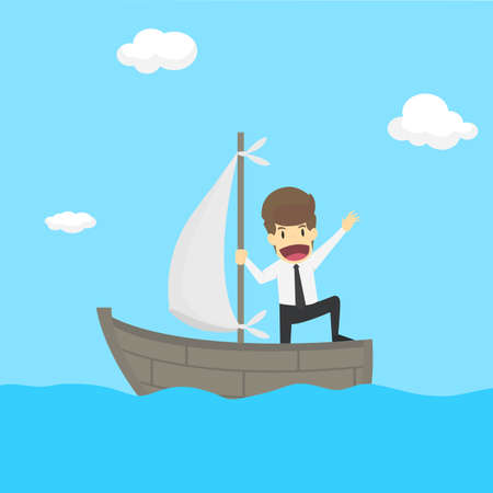 businessman exploring the sea adventure to find the treasure. vector Illustration