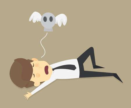 investment concept: Businessman work hard until dead, VECTOR Illustration