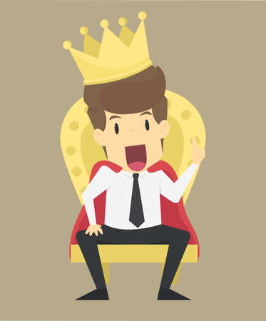 A successful businessman is sitting on the throne like a king VECTOR