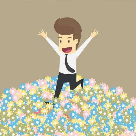Businessman in flower garden vector