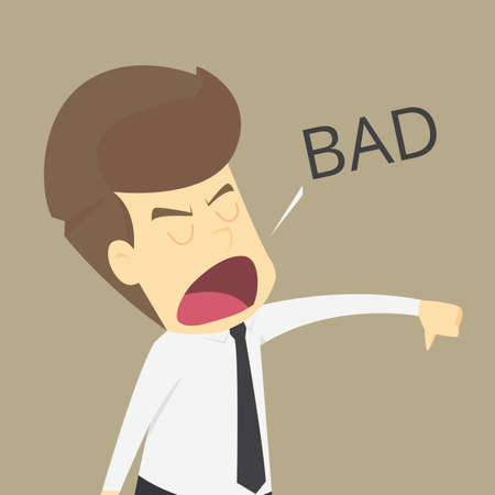 Businessman angry hands with thumbs down vector