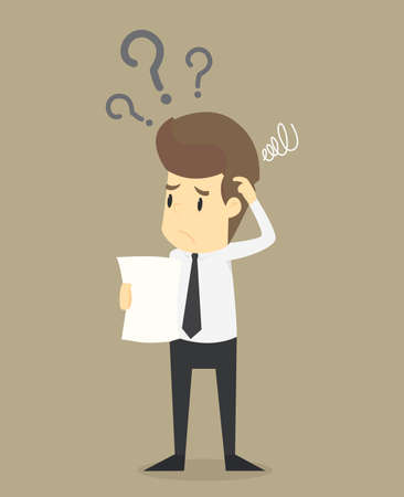 puzzling: businessman confused with the question, the problem exists.VECTOR