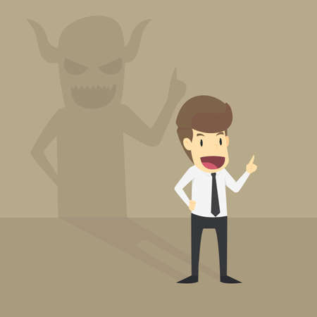 Businessman With Demon Shadow Wall Behind.VECTOR