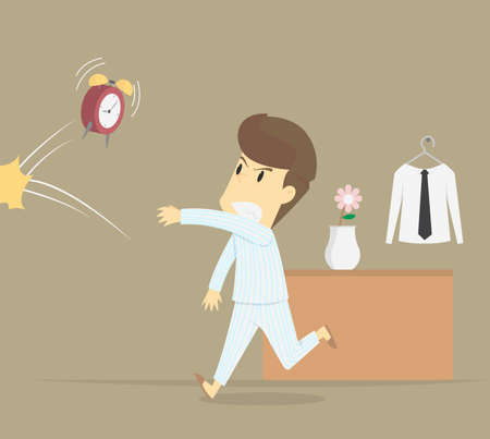 businessman angry hurl the alarm clock at wake up with laziness.VECTRO