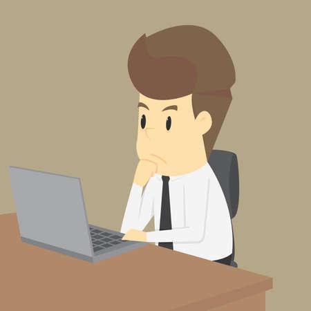 Businessman working on notebook.VECTOR