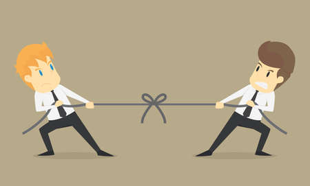 Businessman in career race. Two businessman fighting in the tug of war  .VECTOR