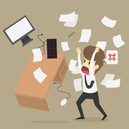Angry office worker character crash workplace. vector