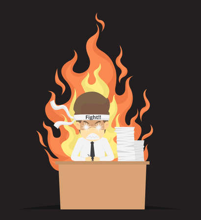 Businessman burned out at work.VECTOR