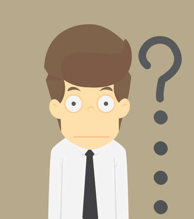 puzzling: businessman surprised with the question, the problem exists.VECTOR