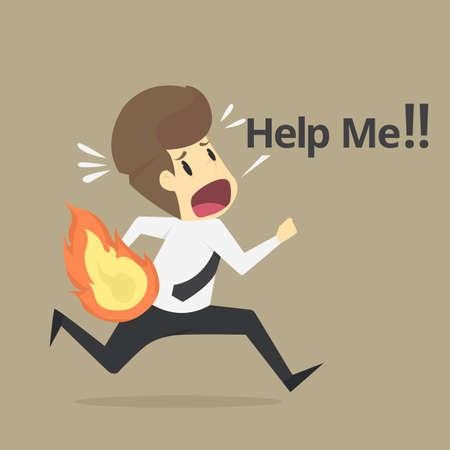 Businessman on fire run away , help me .VECTOR.