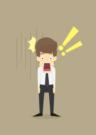 Businessman shocked  with wide open mouth.VECTOR