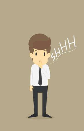 silent: Businessman silent quiet gesture with finger.