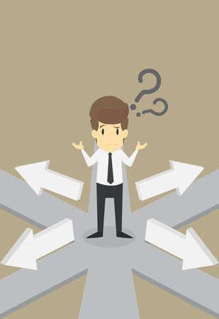 Businessman  thinking which direction to go.VECTOR  イラスト・ベクター素材