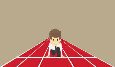 ビジネスマンはビジネス概念文字の開始時に実行する準備ができています。ベクトル eps10 図