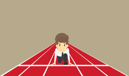 Businessman ready to run at start,Business concept character.Vector eps10 Illustration Vector Illustration