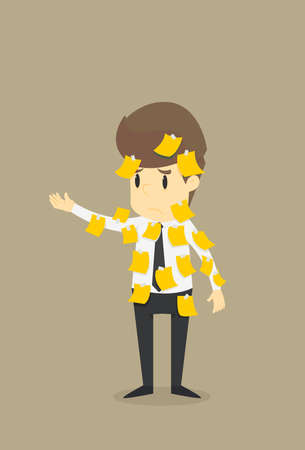 Businessman with sticky notes post it  ,Business cartoon concept character.Vector eps10 Illustration Illustration