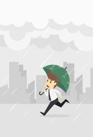 Businessman has the umbrella running dripping rain clouds,businessman young cartoon badly fail concept is man character. View emotions moving include icon of man,woman person. Vector  Illustration