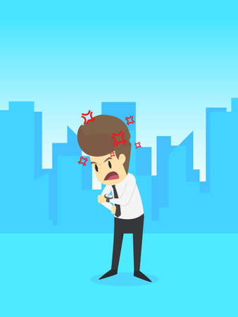 include: Businessman angry standing and checking his watch,business young cartoon badly concept is man character. emotions moving include icon of man,woman person.applied to infographic.Illustration Vector Illustration