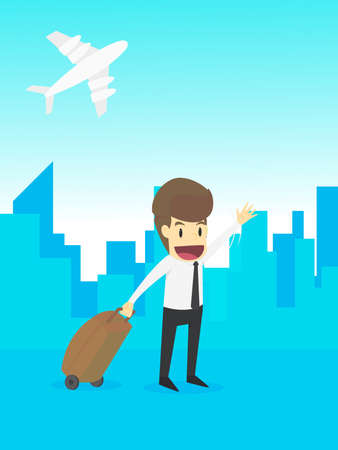 moving in: Businessman in airport and airplane,travel trip airplane airport,business young cartoon happiness of success concept is man character.view emotions moving of man-woman person. Illustration Vector Illustration